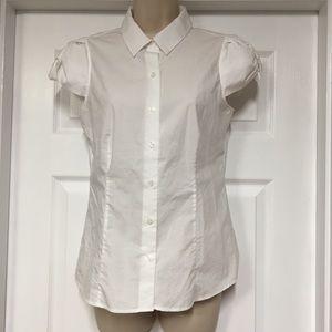 Kate Spade white blouse w/ bow sleeves